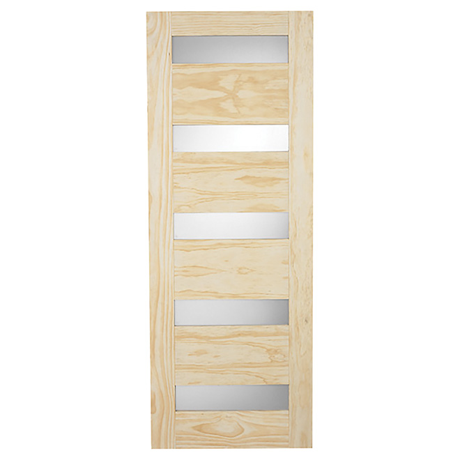 "5-Panel Pine French Door 32"" x 80"" - Natural"