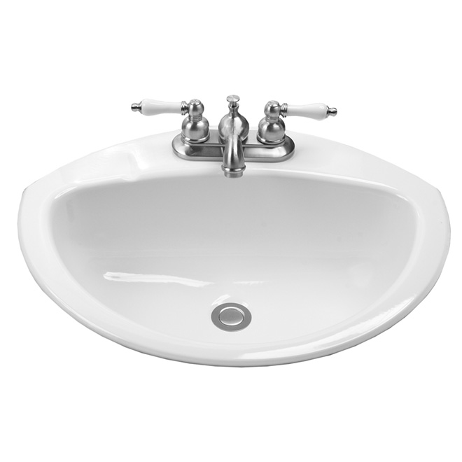 drop in lavatory coronette 21 x 17 white rona