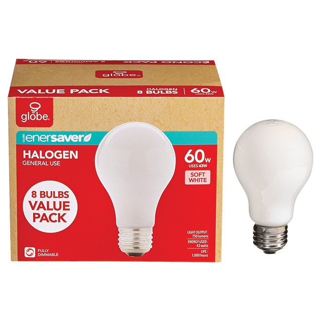 8-Pack 43 W A19 Soft White Halogen Bulbs