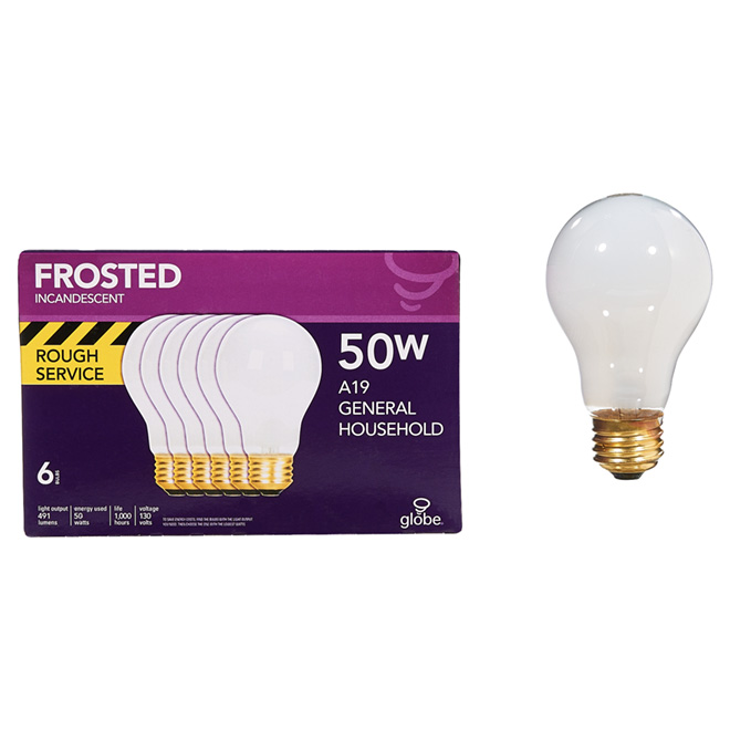 Rough Service Incandescent Bulb, A19, 50W - Pack of 6