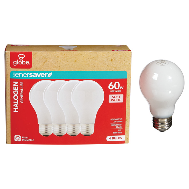 4-Pack 43 W A19 Soft White Halogen Bulbs