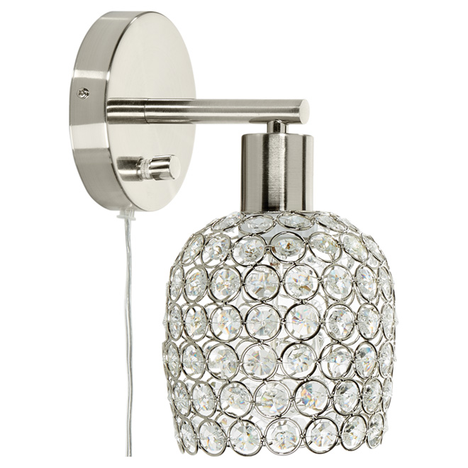 1-Light Wall Sconce with Crystal Shade RONA