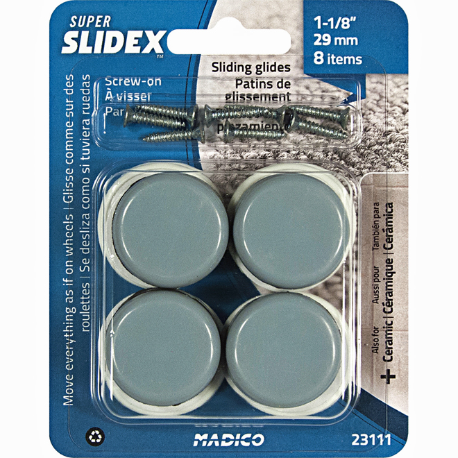 Sliding Screw-On Glides - Round - 1 1/8 - 8//Pk