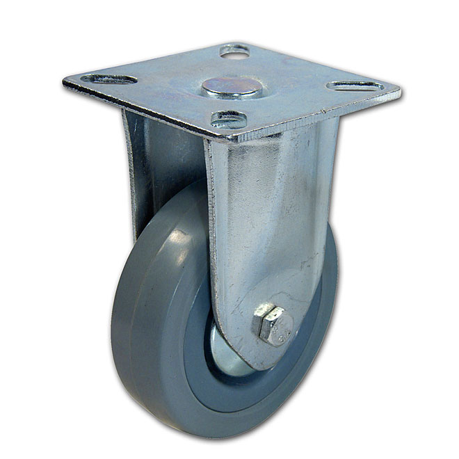 Grey Rubber Plate Rigid Caster - 132 lbs Capacity - 3""
