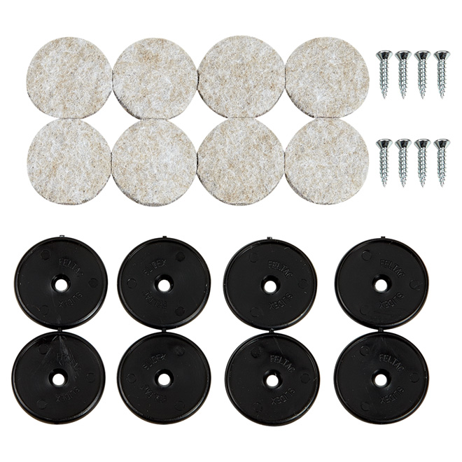 "Screw-on Felt Pads - Round - Beige/Black - 1 1/8"" - 8/Pk"