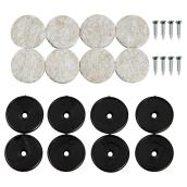 Screw-on Felt Pads - Round - Beige/Black - 1 1/8