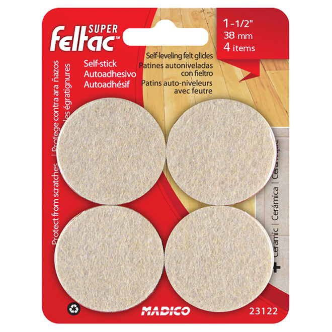 "Self-Adhesive Self-Levelling Pads - Round - 1 1/2"" - 8/Pk"
