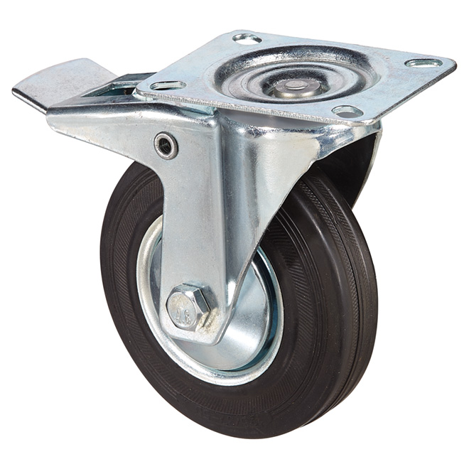 Euro Series Rubber Plate Caster - Brake - 220 lbs Cap. - 5""