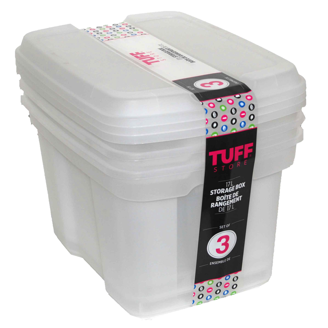 Plastic Storage Boxes, 17 L - White - 3-Pack