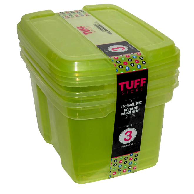 Plastic Storage Boxes, 17 L - Green - 3-Pack