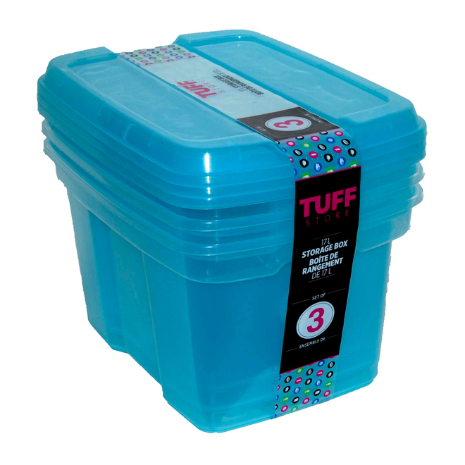 Plastic Storage Boxes, 17 L - Blue - 3-Pack