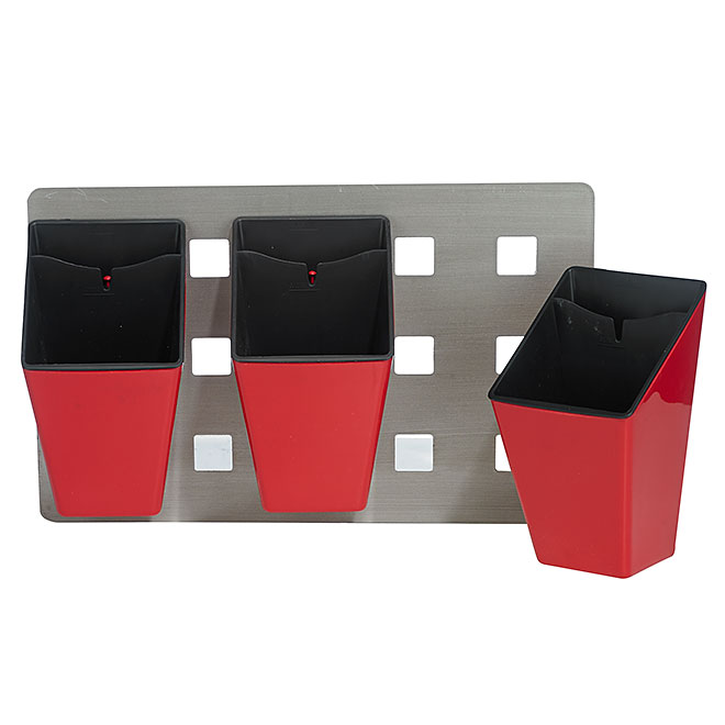 3 Wall Planters - Red and grey