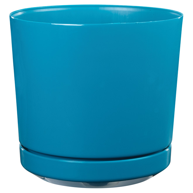 "High-Gloss Planter Pot - ""Dynamic Design"" - 12"" - Teal"
