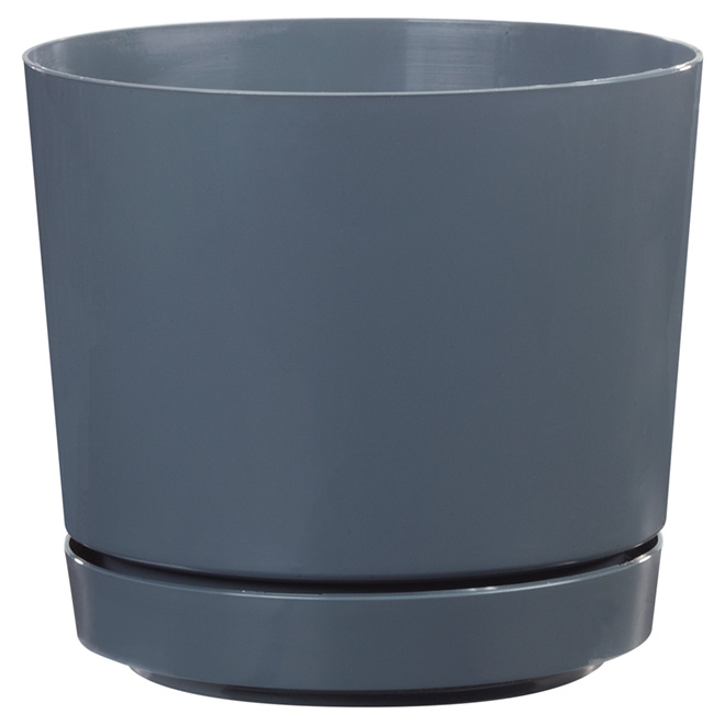 "High-Gloss Planter Pot - ""Dynamic Design"" - 8"" - Grey"