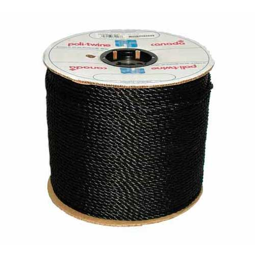 "Twisted Rope - 3-Strand - 1/4"" - Black"