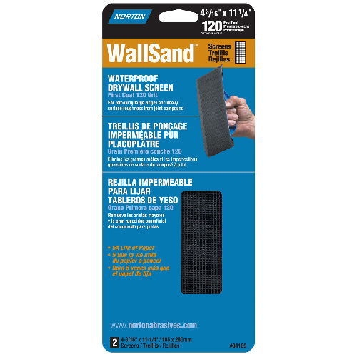 "Waterproof Drywall Screen 120 Grit 4 3/16"" x 11"""
