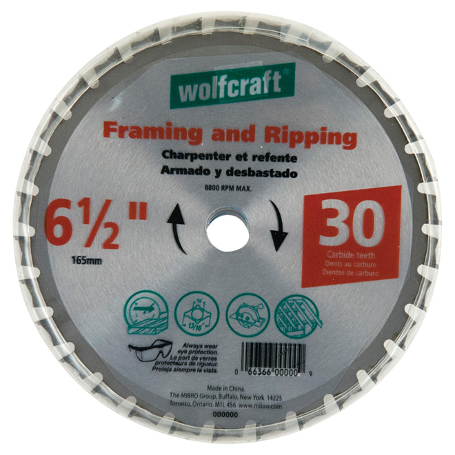 "Framing Circular Saw Carbide Blade - 6 1/2"" - 30TH"