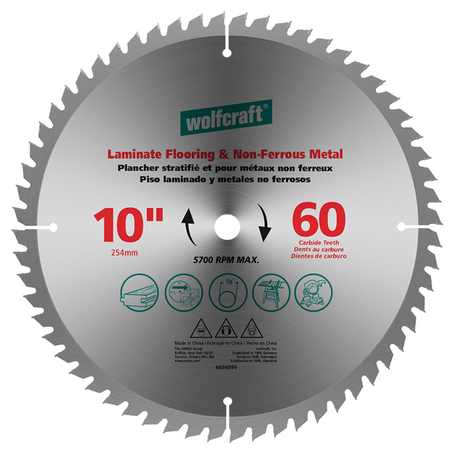 Laminate Non Ferrous Carbide Blade 10 Quot 60th Rona