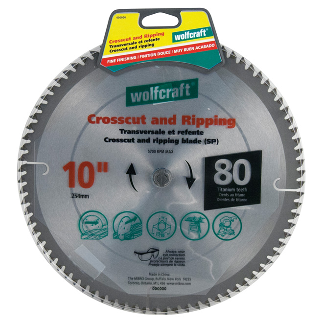 "Crosscutting/Ripping Titanium Saw Blade- 10"" -80TH"