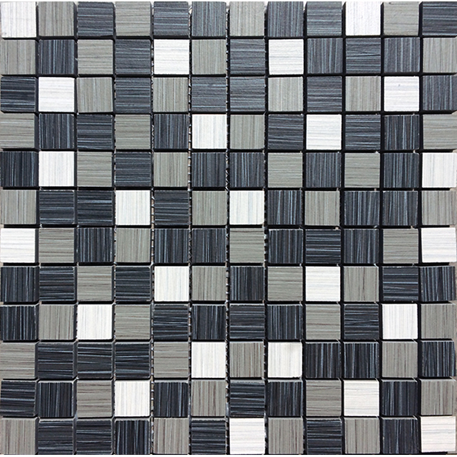 "Porcelain Tiles- Mosaic - 12"" x 12"" - White/Grey/Black"