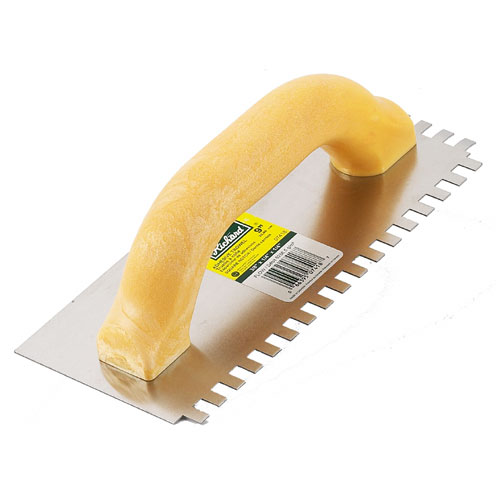"Ceramic Trowel - Square Notch - 4"" x 9"" - 3/8"" Teeth"