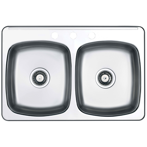 double sink 3 holes 205 x 315 brushed satin - Rona Kitchen Sink