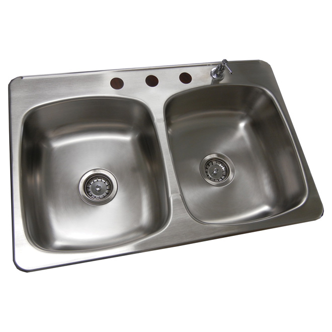 Double Kitchen Sink with Soap Dispenser