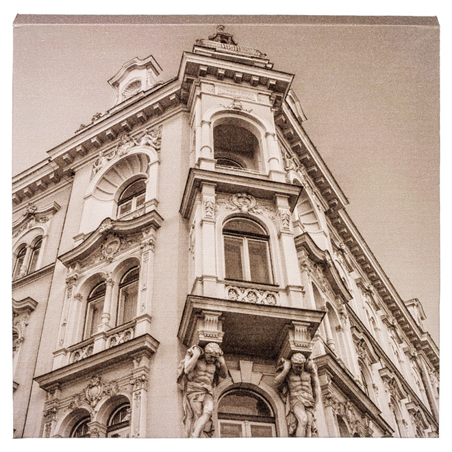 Wood and Cotton Sepia Laminated Canvas - Baroque Building