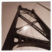 Wood and Cotton Sepia Canvas - San Francisco Bay Bridge