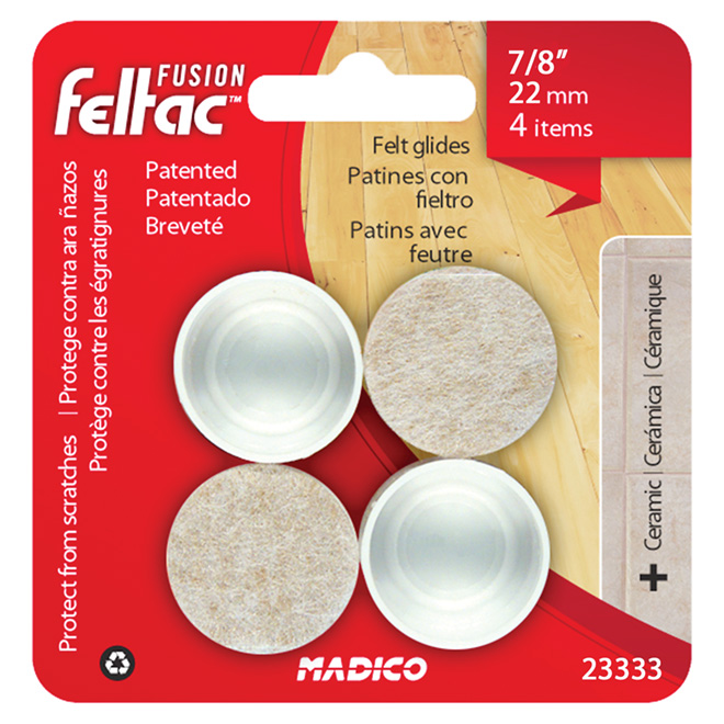 "Fused-Felt Plastic Leg Tips - Round - White - 7/8"" - 4/Pk"