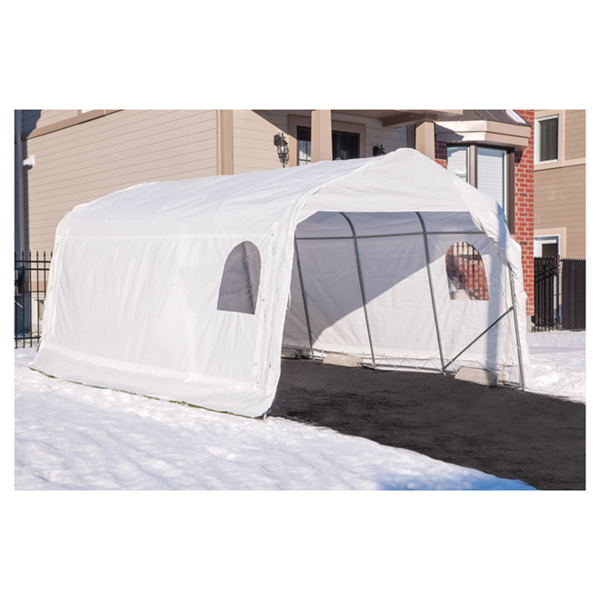 PVC Car Shelter - 11 x 16 x 8' - White