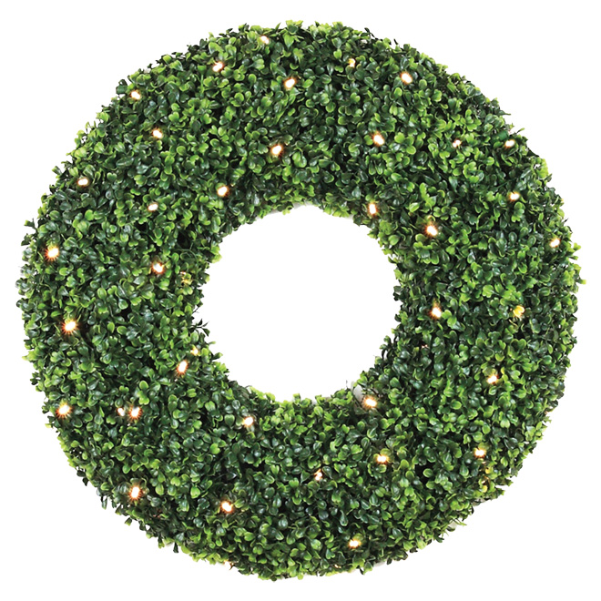 Battery-Operated Lighted Wreath - 35 LED - 500 Tips - 24""