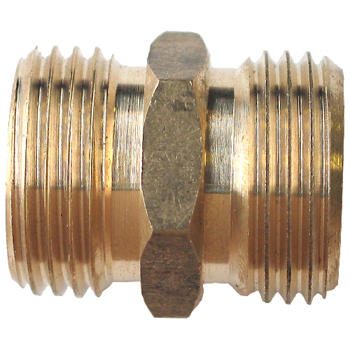 "Hose Connector - Brass - 3/4"" x 3/4"" - Male x Male"