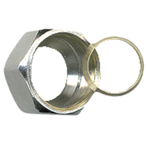 Compression Nut with Sleeve - Brass - 3/8""