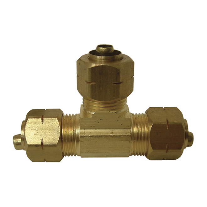 "T-Fitting - Brass - 3/8"" x 3/8"" x 3/8"" - Tube"
