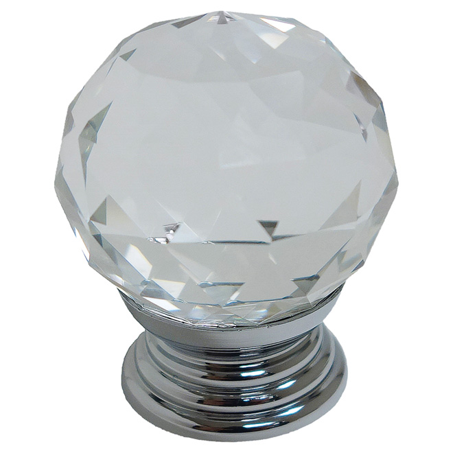 "Cabinet Knob - 1 9/16"" - Chrome/Clear"