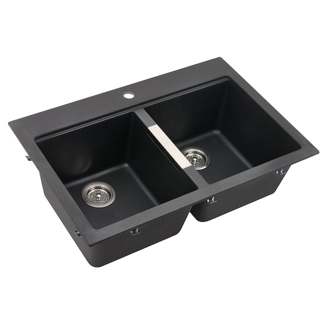 Composite granite double kitchen sink black rona - Cuisine evier noir ...