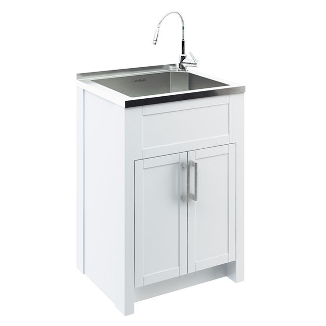 Laundry Sink Cabinet Stainless Steel : Odyssey Stainless Steel Laundry Tub with Cabinet RONA