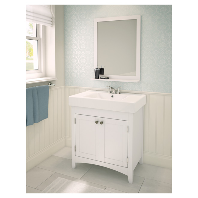 Bathroom Sink Vanity With Reversible Doors White 29 Rona