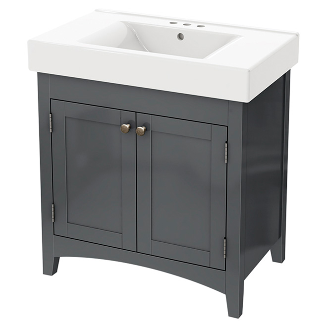 Bathroom Sink Vanity with Reversible Doors - Grey - 30""