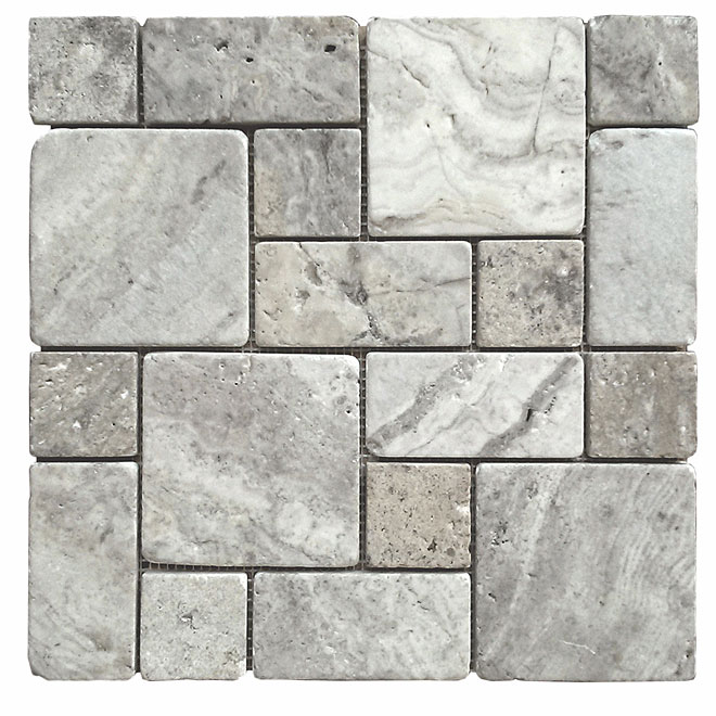 """Silver Roman"" Travertine Mosaïc"