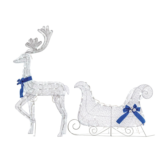 Lighted Deer and Sled Decoration - 105 LED -White/Blue - 40""