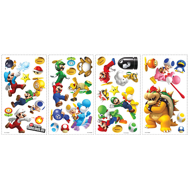 Appliqu mural autocollant nintendo super mario rona for Collant mural