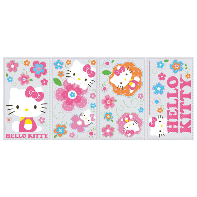 Appliqu mural autocollant hello kitty et fleurs rona for Climatiseur mural rona