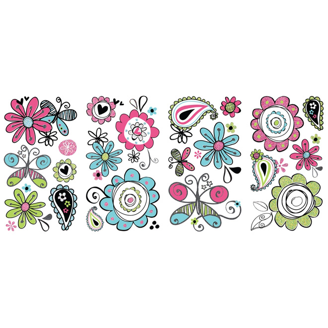 Peel and Stick Wall Decals - Glitter Doodlerific Floral