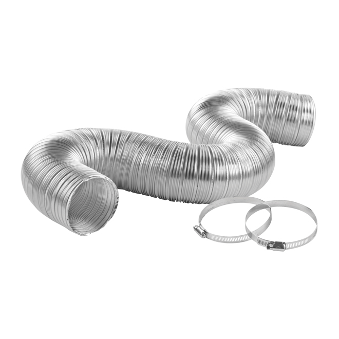 "4"" x 8' Grey Semi-Rigid Aluminum Pipe"