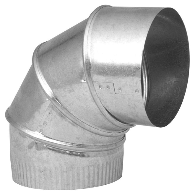 "5"" Galvanized Steel Adjustable Elbow, 0° to 90° Angle"