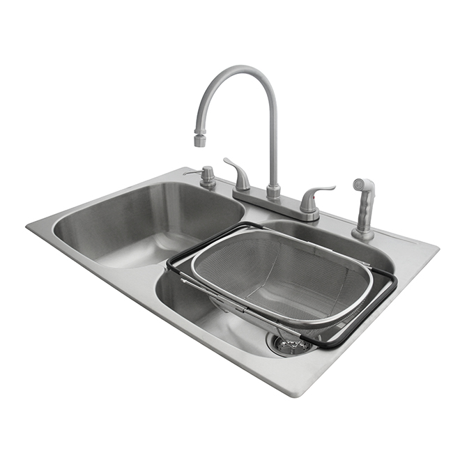 Double Kitchen Sink With Faucet And Colander, Stainless
