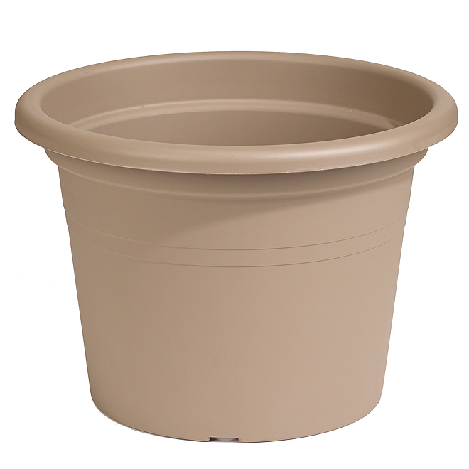 "Plastic Round Planter 12"" - Brown"