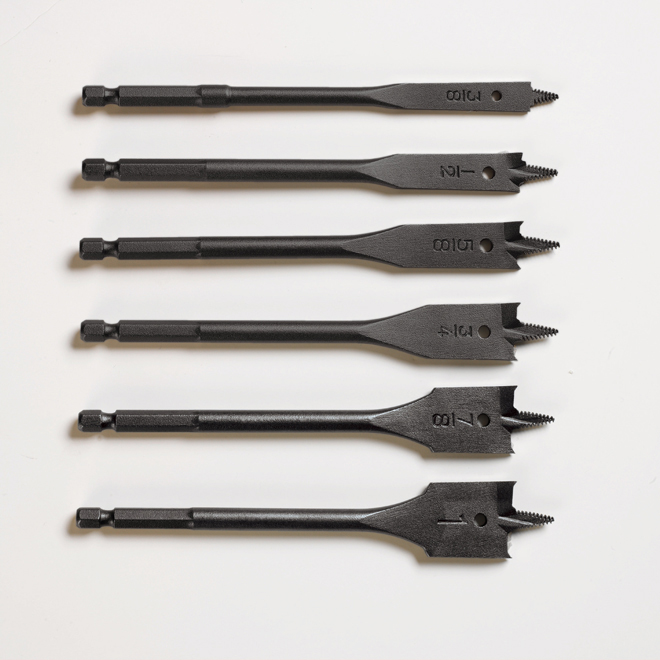"6-piece ""Black Max"" Spade Wood Drill Bits Set"